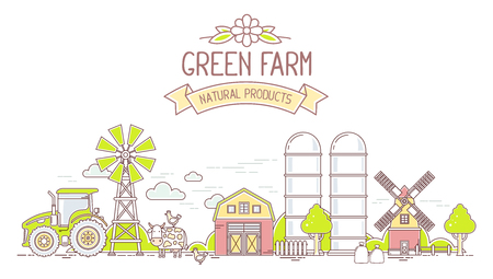 granary: Agribusiness.Vector horizontal illustration of colorful modern farm life with natural economy on white background.Village landscape.Thin line art flat design of countryside for farming and agricultural theme Illustration