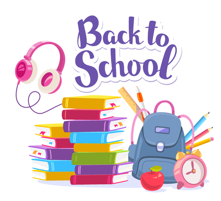 Vector colorful illustration of blue backpack, pile of books, apple, alarm clock, pink headphones, stationery and text back to school on white background. Bright design for web, site, advertising, banner, poster, brochure, board Illustration