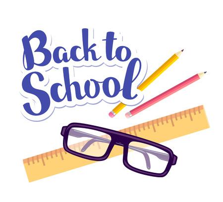 다시 학교로 두 연필, 눈금자, 흰색 배경에 안경 비문의 벡터 다채로운 그림. 웹, 사이트, 광고, 배너, 포스터, 브로셔, 보드를위한 밝은 학교 디자인