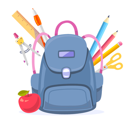 Vector colorful illustration of big blue backpack with red apple and many school supplies isolated on white background. Art school design for web, site, advertising, banner, poster, brochure, board