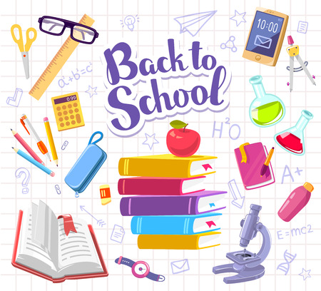 Vector colorful illustration with many school supplies on background of white sheet of school notebook into a cell with text back to school. Bright design for web, site, advertising, banner, poster, brochure, board Illustration