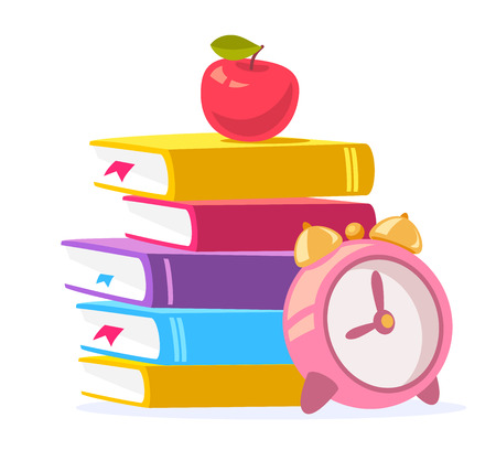 učebnice: Vector colorful illustration of stack of books, red apple and big pink alarm clock isolated on white background. Bright school design for web, site, advertising, banner, poster, brochure, board Ilustrace
