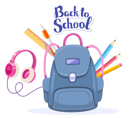 Vector colorful illustration of big blue backpack, pink headphones and many school supplies with text back to school on white background. Art school design for web, site, advertising, banner, poster, brochure, board Illustration