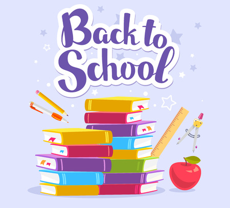Vector colorful illustration of pile of books, apple, school stationery and text back to school on blue background with stars. Bright design for web, site, advertising, banner, poster, brochure, board