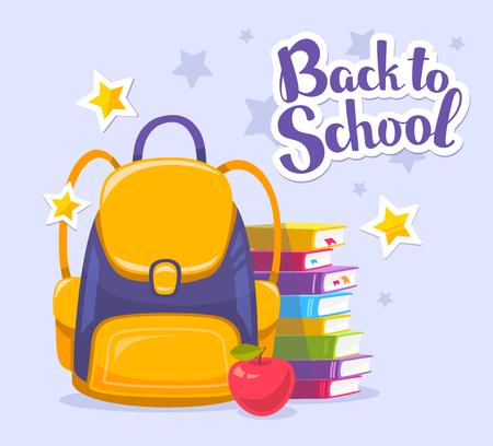 Vettoriale illustrazione colorata di zaino giallo, pila di libri, mela e il testo torna a scuola su sfondo blu con le stelle. design luminoso per il web, sito, pubblicità, banner, poster, brochure, bordo