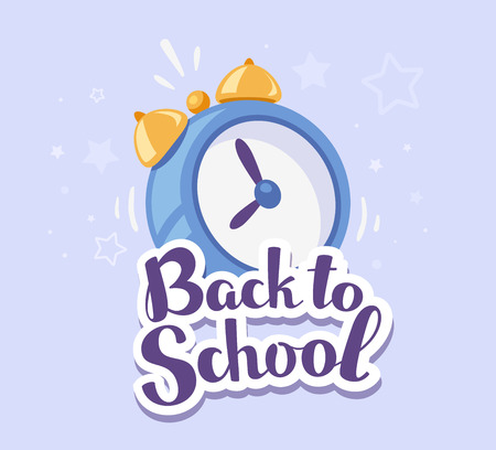 Vector colorful illustration of alarm clock with inscription back to school on blue background with stars. Bright design for web, site, advertising, banner, poster, brochure, board Illustration