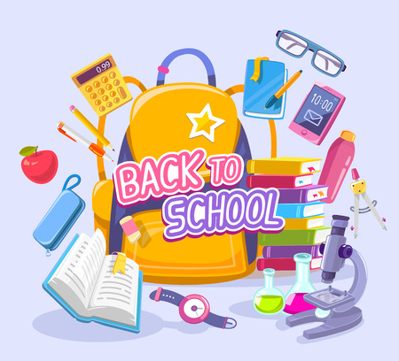 Vector colorful illustration of big yellow backpack with many school supplies on blue background with text back to school. Art design for web, site, advertising, banner, poster, brochure, board Illustration