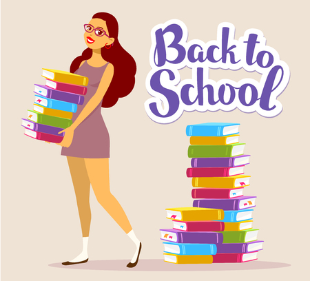 hold high: Vector illustration of young smiling girl full length in dress with colorful pile of books in hands on brown background with text back to school. Bright design for web, site, advertising, banner, poster, flyer, brochure, board, paper print. Illustration