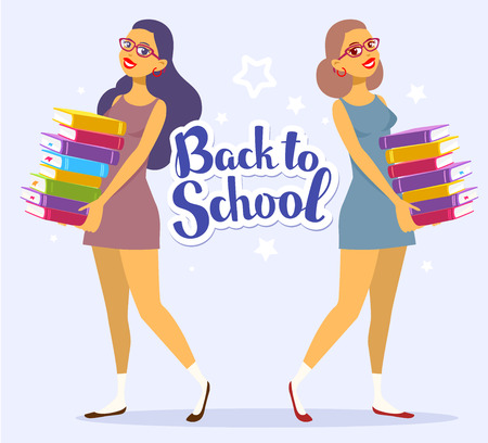 Vector illustration of two smiling young girl full length in dress with colorful pile of books in hands on blue background with text back to school. Bright design for web, site, advertising, banner, poster, flyer, brochure, board, paper print.
