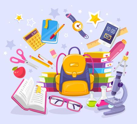 Wektorowa kolorowa ilustracja żółty plecak, stos książki, telefon, mikroskop i wiele wiele szkolne dostawy na błękitnym tle ,. Jasny projekt dla strony internetowej, witryny, reklamy, baner, plakat, broszura, deska Ilustracje wektorowe