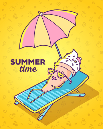 sunbathe: Vector colorful illustration of character ice cream with glasses lying on sun lounger and sunbathe on yellow background. Summer time concept. Flat style hand drawn line art design of ice cream for card, poster