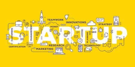 Vektor kreative Illustration von Start Wort Schriftzug Typografie Geschäft mit Linie Icons und Tag-Cloud auf gelbem Hintergrund. Startup-Technologie-Konzept. Dünne Linie Art-Stil Design für Existenzgründung, Service-Entwicklung Thema Vektorgrafik