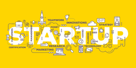 Vector creative illustration of business startup word lettering typography with line icons and tag cloud on yellow background. Startup technology concept. Thin line art style design for business startup, service development theme