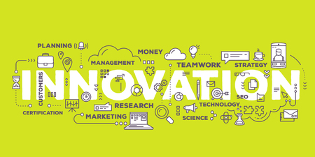 innovation word: Vector creative illustration of innovation word lettering typography with line icons and tag cloud on green background. Business innovation technology concept. Thin line art style design for innovation technology theme