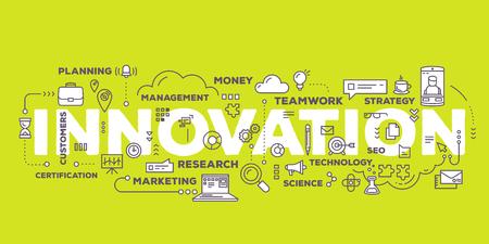 Vektor kreative Illustration der Schriftzug Typografie Innovation Wort mit Linie Icons und Tag-Cloud auf grünem Hintergrund. Business-Innovation-Technologie-Konzept. Thin Line-Art-Stil Design für Innovation Technologie Thema