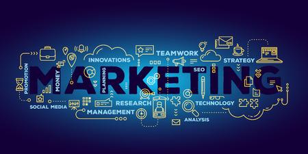 Vektor kreative Illustration der Schriftzug Typografie Marketing Wort mit Linie Icons und Tag-Cloud auf dunkelblauem Hintergrund mit Farbverlauf. Marketing-Technologie-Konzept. Dünne Linie Kunst Stil Design für Wirtschaftsförderung, Social-Media-Thema