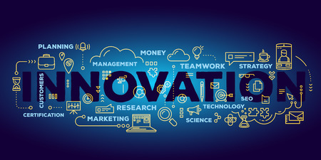 Vector creative illustration of innovation word lettering typography with line icons and tag cloud on dark blue gradient background. Business innovation technology concept. Thin line art style design for innovation technology theme