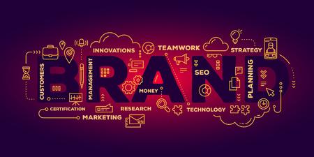 어두운 빨간색 그라데이션 배경에 라인 아이콘 및 태그 구름과 함께 브랜드 단어 글자 입력 체계의 창조적 인 그림을 벡터. 브랜딩 기술 개념입니다.  일러스트