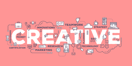 Vector creative illustration of creative word lettering typography with line icons and tag cloud on red background. Creative idea concept. Thin line art style design for business creative theme website banner Illustration