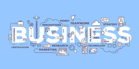 ベクトル線のアイコンと青の背景にタグクラウドのタイポグラフィをレタリング ビジネス単語の創造的なイラスト。ビジネス技術コンセプト。ビジ