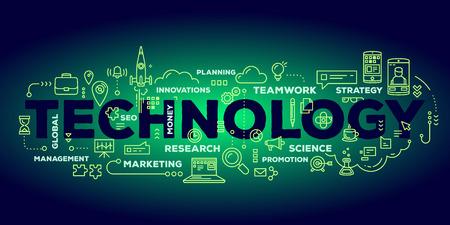 L'illustrazione creativa di vettore della tipografia dell'iscrizione di parola di tecnologia con la linea icone e l'etichetta si appannano sul fondo verde scuro di pendenza. Concetto di tecnologia di innovazione aziendale. Design in stile linea sottile per temi di innovazione tecnologica