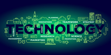 Vector creative illustration of technology word lettering typography with line icons and tag cloud on dark green gradient background. Business innovation technology concept. Thin line art style design for innovation technology theme