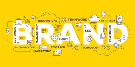 ベクトル線のアイコンと背景が黄色のタグの雲のタイポグラフィをレタリング ブランド単語の創造的なイラスト。技術コンセプトのブランド。ブラ