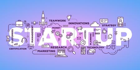 線のアイコンとタグの雲のタイポグラフィをレタリング ビジネス スタートアップ単語のベクトル クリエイティブ イラスト紫グラデーションの背景