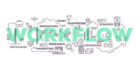 ベクトル線のアイコンと白い背景のタグクラウド タイポグラフィをレタリング ワークフロー単語の創造的なイラスト。ビジネス ワークフロー技術