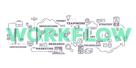 Vector creative illustration of workflow word lettering typography with line icons and tag cloud on white background. Business workflow technology concept. Thin line art style design for business workflow, plan, management theme