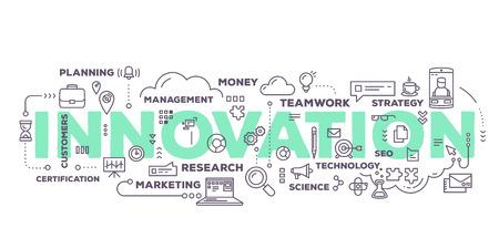 Vector illustration créative du mot innovation lettrage typographie avec des icônes de ligne et nuage de tags sur fond blanc. innovation dans les entreprises de concept technologique. conception de style d'art en ligne mince pour le thème de l'innovation technologique