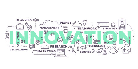 Wektor twórczych ilustracją słowo innowacja oznaczeniem typografii z ikon linii i chmury tagów na białym tle. innowacji w biznesie koncepcji technologii. Cienka konstrukcja liniowa styl technologicznej innowacji tematu