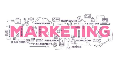 ベクトル線のアイコンと白い背景のタグクラウド タイポグラフィをレタリング単語をマーケティングの創造的なイラスト。マーケティング技術コン