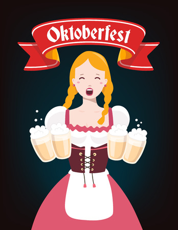 german girl: Vector colorful illustration of german girl waitress in traditional clothes holding yellow beer mugs, red ribbon, text on dark background. Oktoberfest festival and greeting. Design for web, site, banner, poster, board, card