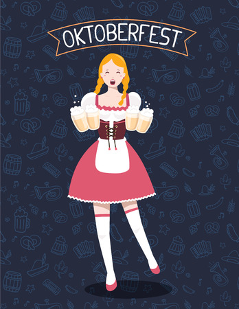 brewed: Vector colorful illustration of german full length girl waitress in traditional clothes holding yellow beer mugs, ribbon, text on dark pattern background. Oktoberfest festival and greeting. Design for web, site, banner, poster, board, card Illustration