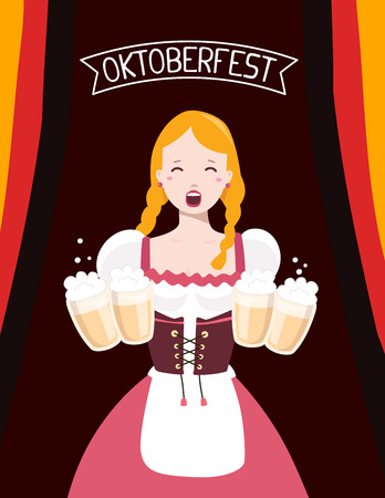 Vector colorful illustration of german girl waitress in traditional clothes holding yellow beer mugs, flag ribbon, text on dark background. Oktoberfest festival and greeting. Design for web, site, banner, poster, board, card