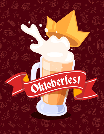 Vector colorful illustration of big mug of yellow beer with golden crown, red ribbon and text on dark pattern background. Oktoberfest festival and greeting. Realistic design for web, site, banner, poster, board, card