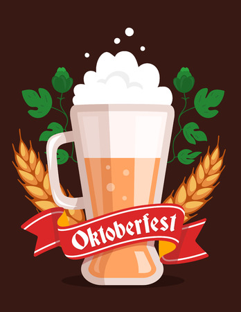 bavarian culture: Vector colorful illustration of big mug of yellow beer with ears wheat, leaf hops, red ribbon and text on dark background. Oktoberfest festival and greeting. Realistic design for web, site, banner, poster, board, card Illustration