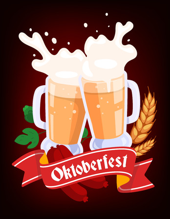 Vector colorful illustration of two big mugs of yellow beer with ears wheat, green leaf hops, sausage, red ribbon and text on dark background. Oktoberfest festival and greeting. Realistic design for web, site, banner, poster, board, card