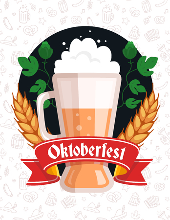 glassful: Vector colorful illustration of big mug of yellow beer with ears wheat, green leaf hops, red ribbon and text on pattern background. Oktoberfest festival and greeting. Realistic design for web, site, banner, poster, board, card