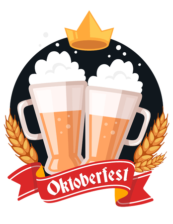 Vector colorful illustration of two big mugs of yellow beer with golden crown, ears wheat, red ribbon and text on white background. Oktoberfest festival and greeting. Realistic design for web, poster