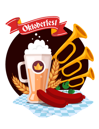 glassful: Vector colorful illustration of big mug of yellow beer with ears wheat, green leaf hops, sausage, trumpets, blue tablecloth, red ribbon and text on white background. Oktoberfest festival and greeting. Realistic design for web, site, banner, poster, board,