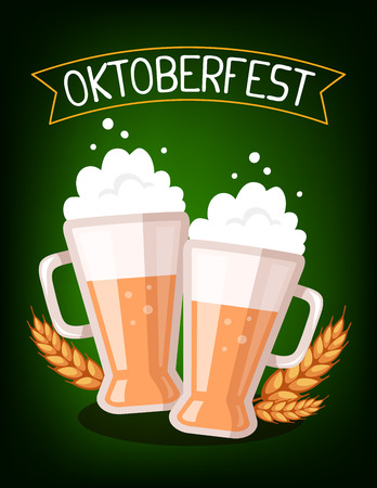 glassful: Vector colorful illustration of two big mugs of yellow beer with ears wheat, ribbon and text on dark green background. Oktoberfest festival and greeting. Realistic design for web, site, banner, poster, board, card