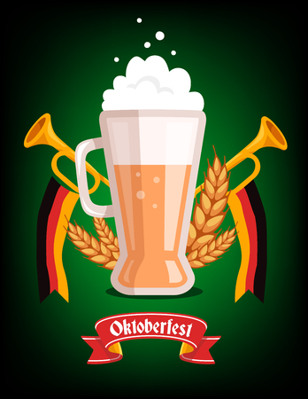 brewed: Vector colorful illustration of big mug of yellow beer with ears wheat, trumpets, ribbon German flag and text on dark green background. Oktoberfest festival and greeting. Realistic design for web, site, banner, poster, board, card Illustration