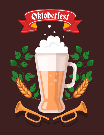 green wheat: Vector colorful illustration of big mug of yellow beer with ears wheat, green leaf hops, trumpets, red ribbon and text on dark background. Oktoberfest festival and greeting. Realistic design for web, site, banner, poster, board, card Illustration