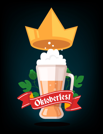 glassful: Vector colorful illustration of big mug of yellow beer with golden crown, green leaf hops, red ribbon and text on dark background. Oktoberfest festival and greeting. Realistic design for web, site, banner, poster, board, card Illustration