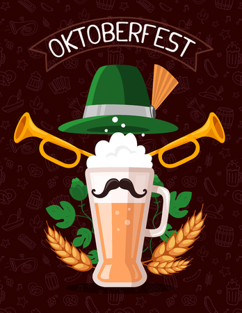 Vector colorful illustration of big mug of yellow beer with ears wheat, green leaf hops, trumpets, hat, mustache, ribbon and text on dark pattern background. Oktoberfest festival and greeting. Realistic design for web, site, banner, poster, board, card