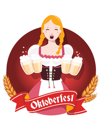 bavarian girl: Vector colorful illustration of german girl waitress in traditional clothes holding yellow beer mugs, ears wheat, red ribbon, text on white background. Oktoberfest festival and greeting. Design for web, site, banner, poster, board, card Illustration