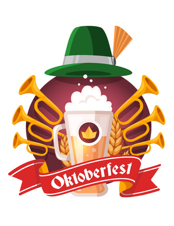 Vector colorful illustration of big mug of yellow beer with ears wheat, trumpets, green hat, red ribbon and text on white background. Oktoberfest festival and greeting. Realistic design for web, site, banner, poster, board, card