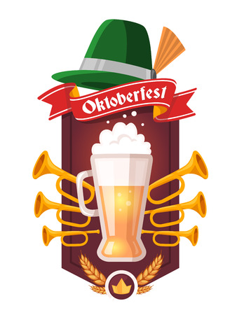 Vector colorful illustration of big mug of yellow beer with ears wheat, trumpets, green hat, red ribbon and text on white background. Oktoberfest festival and greeting coat of arms. Realistic design for web, site, banner, poster, board, card